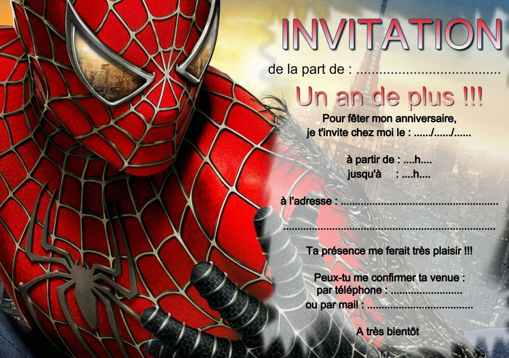 5 or 12 birthday invitation cards spiderman ref 265 ebay stopboris Choice Image