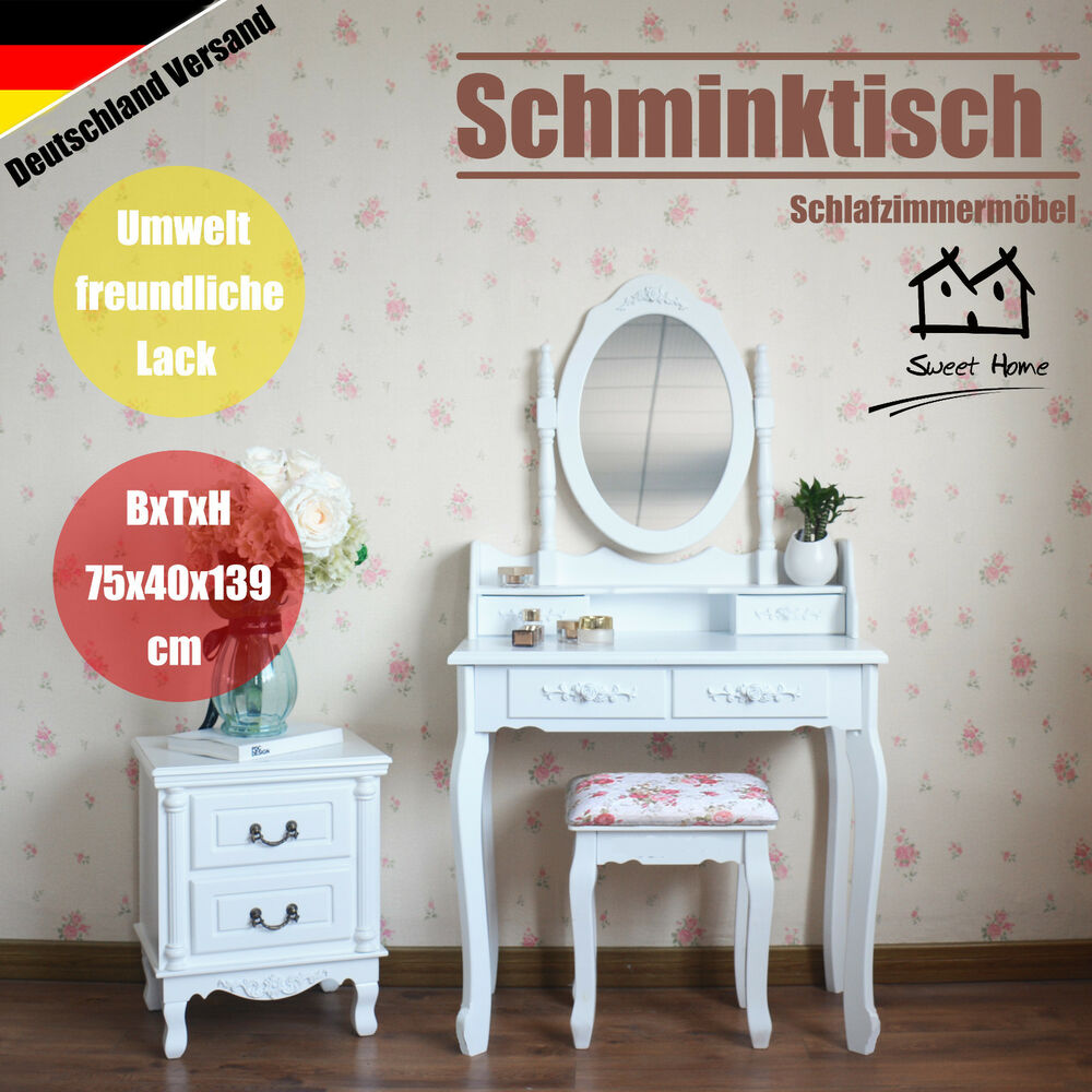 schminktisch kosmetiktisch frisierkommode mit spiegel hocker dressing table wei ebay. Black Bedroom Furniture Sets. Home Design Ideas