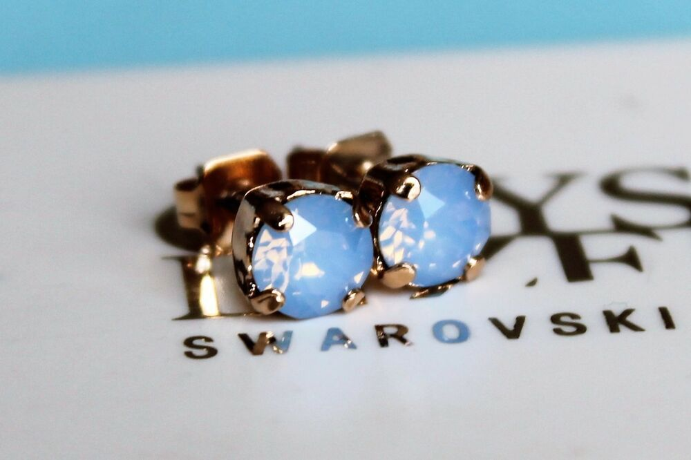eee0f6210d74 Details about Rose Gold Plated Stud Earrings with Air Blue Opal Swarovski  Crystal Elements