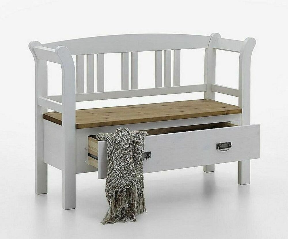 massivholz dielenbank kiefer 2farbig wei holz sitzbank stauraum bank mit lehne ebay. Black Bedroom Furniture Sets. Home Design Ideas