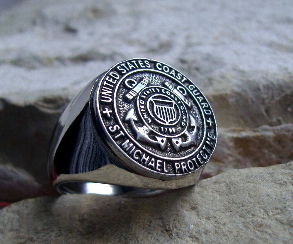 US COAST GUARD RING ARMY SEAL CREST SAINT MICHAEL RING ...