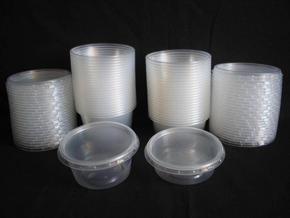 25pcs Plastic Disposable Round Containers Buckets Lids