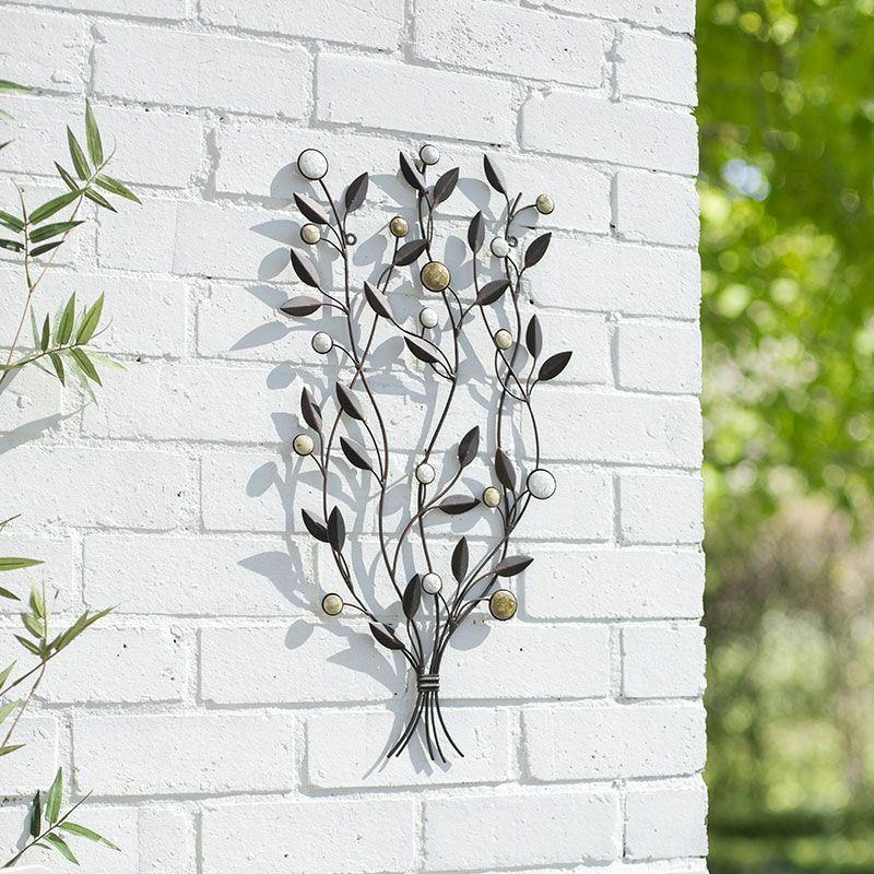 Garden metal wall art decor leaf bunch 64cmh patio indoor for Outdoor garden wall decor