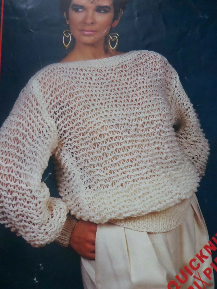 Knitting Pattern Women Ladies Easy Knit Jumper Sweater DK 30-40