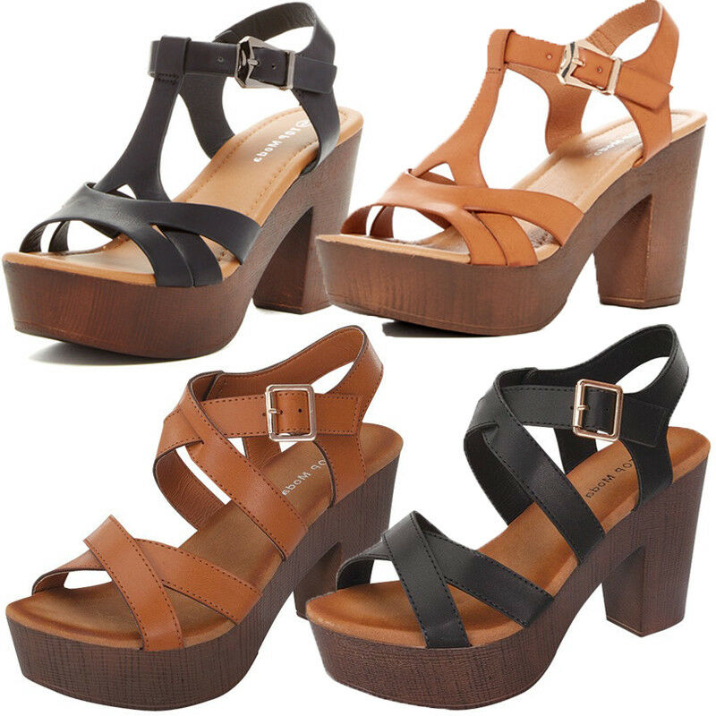 3b59435e0c Details about NEW CHUNKY WOODEN HIGH HEEL STRAPY WOMEN PEEP TOE OPEN  PLATFORM PARTY SANDAL