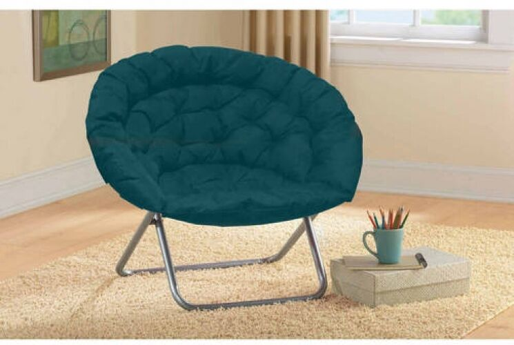 Oversized Saucer Moon Chair Dorm TV Living Room Round Folding Seat Teal