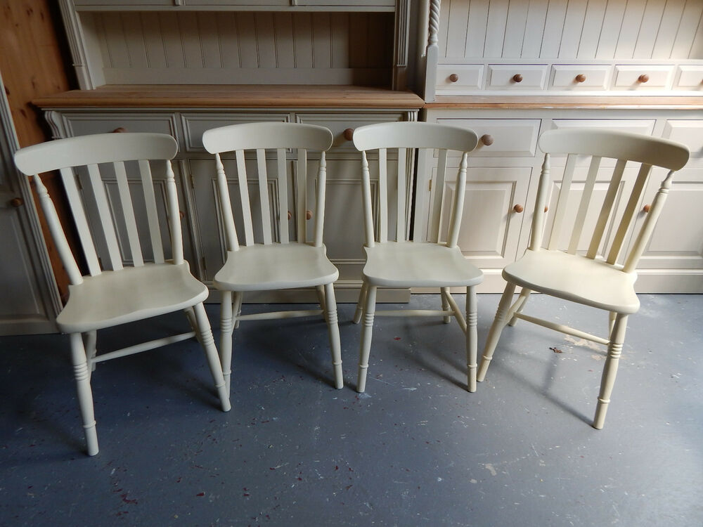 Painted refurbished solid beech pine slat back dining for Painted kitchen chairs