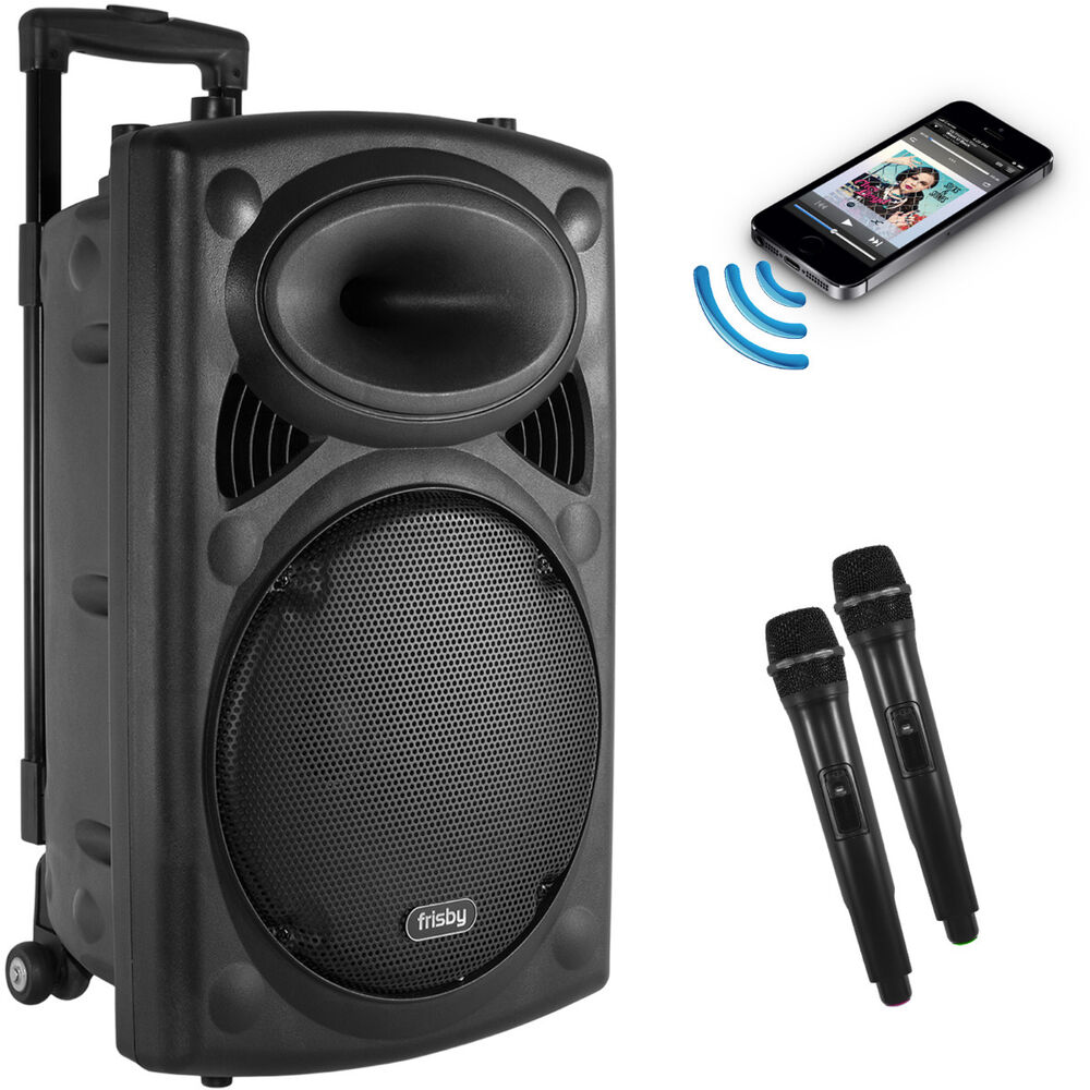 Portable Rechargeable Karaoke Bluetooth Party Speaker W/ 2 MIC FM-Radio USB/SD