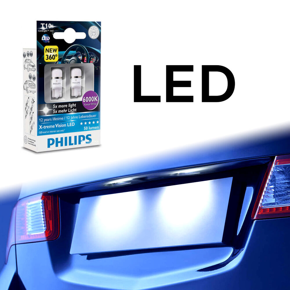 genuine philips 6000k t10 w5w led bulbs for side markers. Black Bedroom Furniture Sets. Home Design Ideas