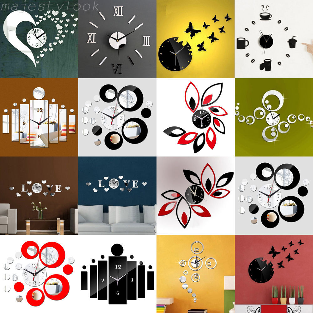 Large Number Wall Decor : Modern large diy wall clock d black number sticker home
