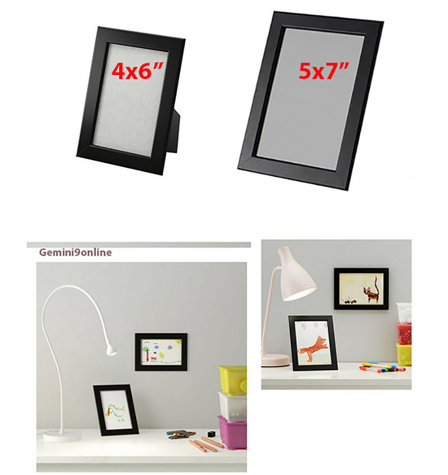 ikea picture frame fiskbo 1 to 4 pk black 4x6 5x7 photo wood new free shipping ebay. Black Bedroom Furniture Sets. Home Design Ideas