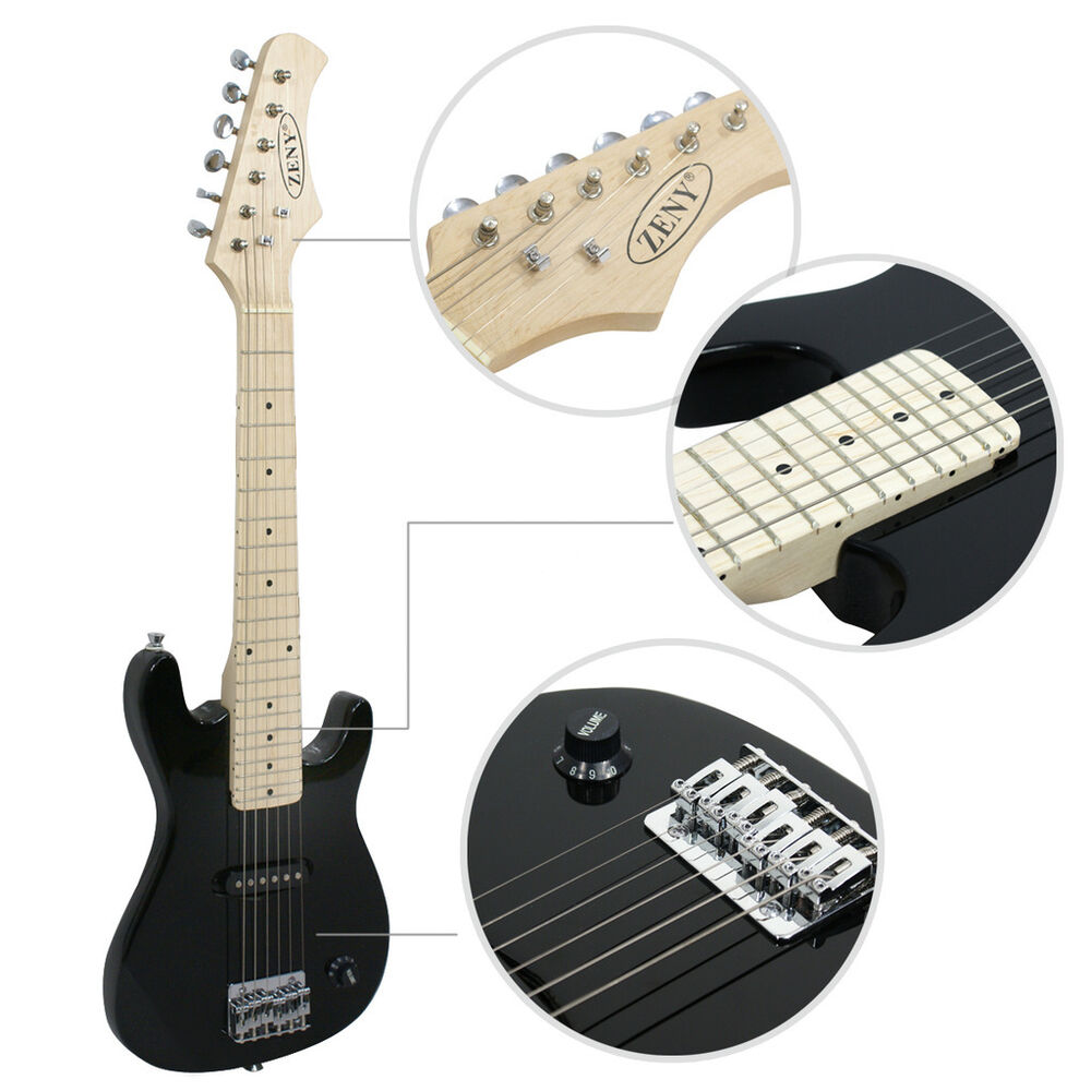 zeny 30 inch with amp accessories black beginner electric guitar package kit 700161267716 ebay. Black Bedroom Furniture Sets. Home Design Ideas