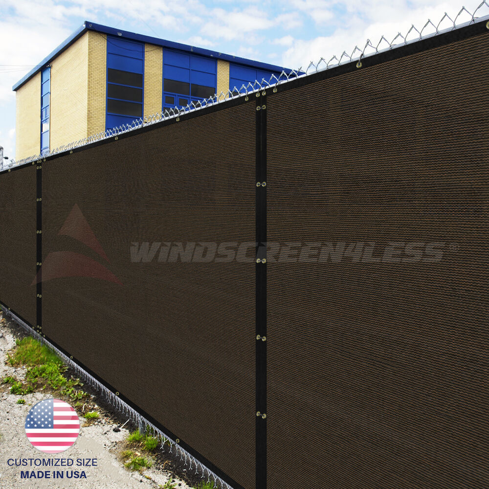 Privacy screen for chain link fence ebay - Customize 5 Ft Privacy Screen Fence Brown Commercial Windscreen Shade Cover1 160 Ebay