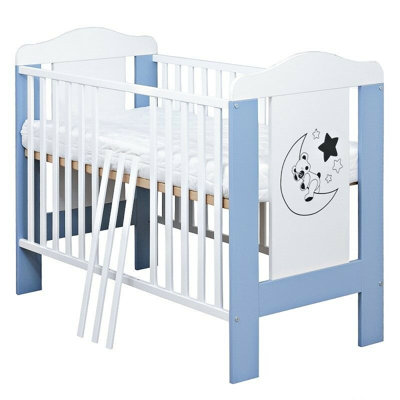 babybett kinderbett gitterbett mond teddy wei blau 60x120 matratze ebay. Black Bedroom Furniture Sets. Home Design Ideas