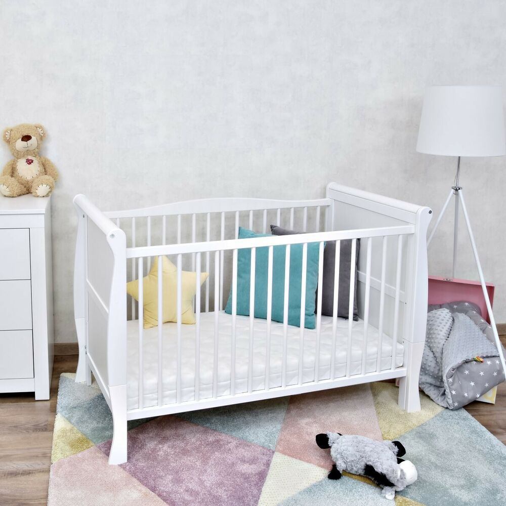 babybett kinderbett juniorbett umbaubar wei massivholz 140x70 matratze ebay. Black Bedroom Furniture Sets. Home Design Ideas