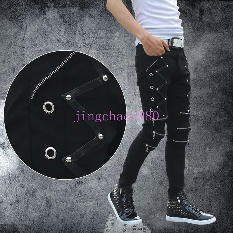 0d6b013f333 Details about Fashion Men s Punk Cool zipper slim jean Pants cotton buckle skinny  Trousers Chz