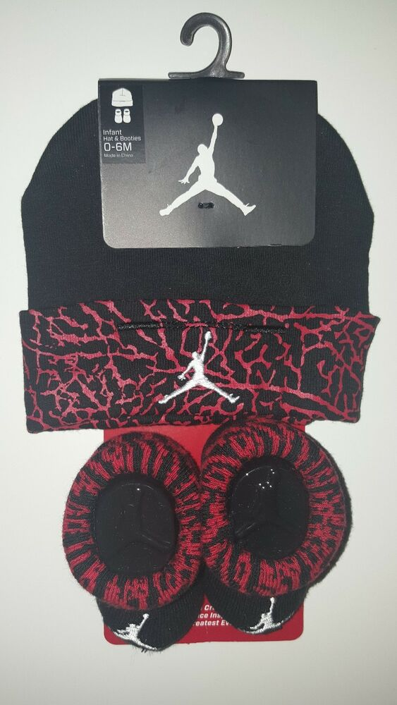 733134ac8fd Details about Nike Air Jordan Girls or Boys Infant Hat   Booties Set Size 0  - 6 Months