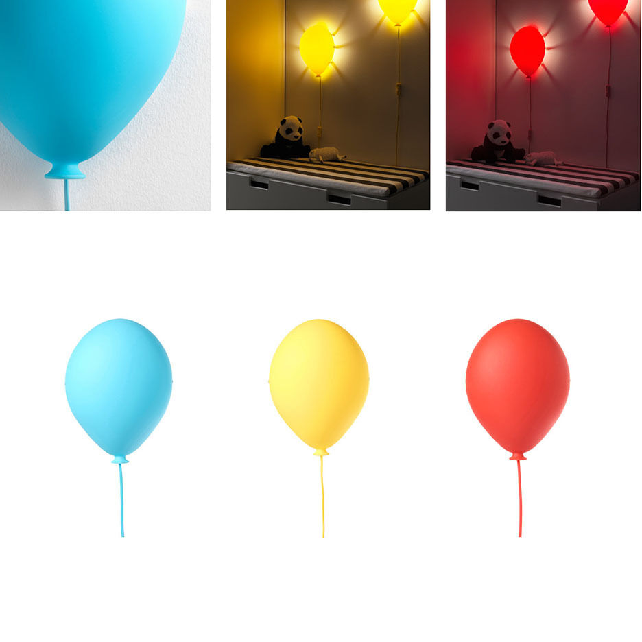 ikea kids wall lamp night light balloon shaped dromminge red blue yellow ebay. Black Bedroom Furniture Sets. Home Design Ideas
