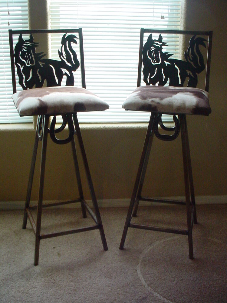 Western Rustec Home Decor Horseshoe Horse Bar Stool Cow