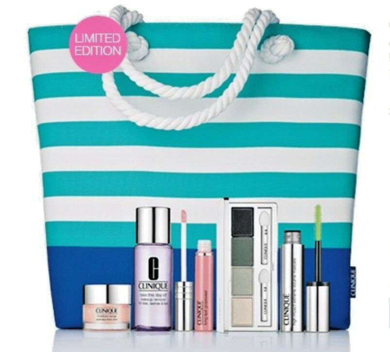 Summer in Clinique Bonfire Beauty Makeup + Beach Tote 6pc Collection, Authentic   | eBay