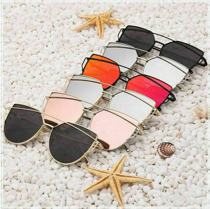New Oversized Cat Eye Sunglasses Flat Mirrored Lens Metal Frame Women Fashion6