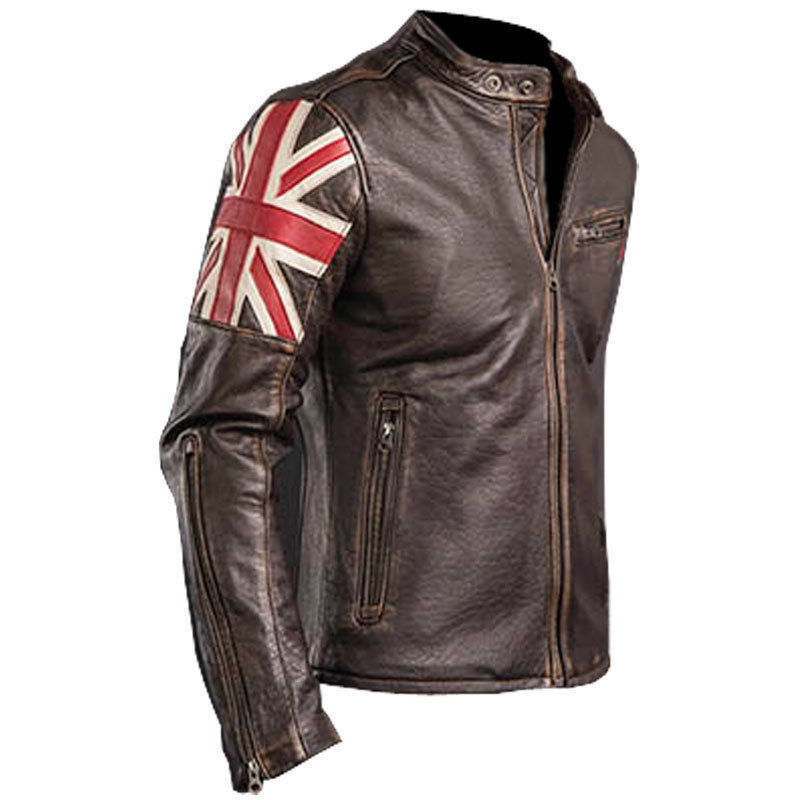 herren designer uk flagge vintage cafe racer braun biker. Black Bedroom Furniture Sets. Home Design Ideas