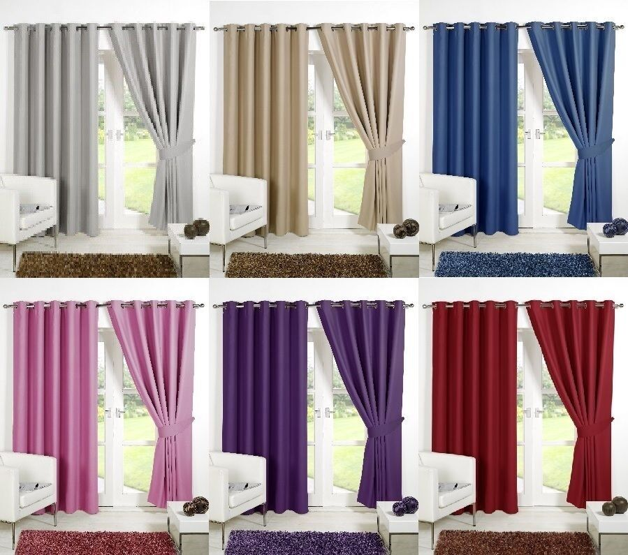 thermal ring top eyelet blackout pair curtains ready made. Black Bedroom Furniture Sets. Home Design Ideas