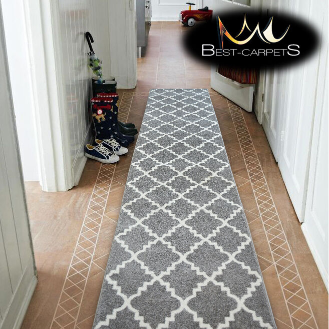 Black And White Rug Ebay Uk: Modern Thick Hall Runner SKETCH TRELLIS Grey Width 80