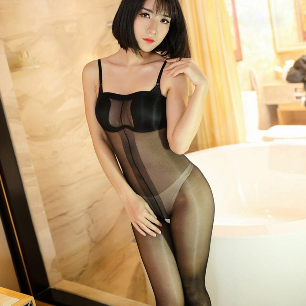 Gloss Silk Shoulder Strap Sheer Tights Stocking Panties -8453