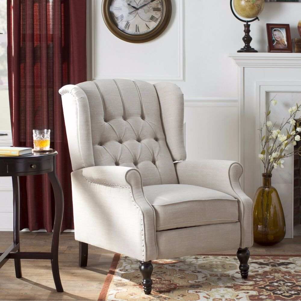 Wing Chair Recliner Button Tufted Fabric Living Room Furniture Club