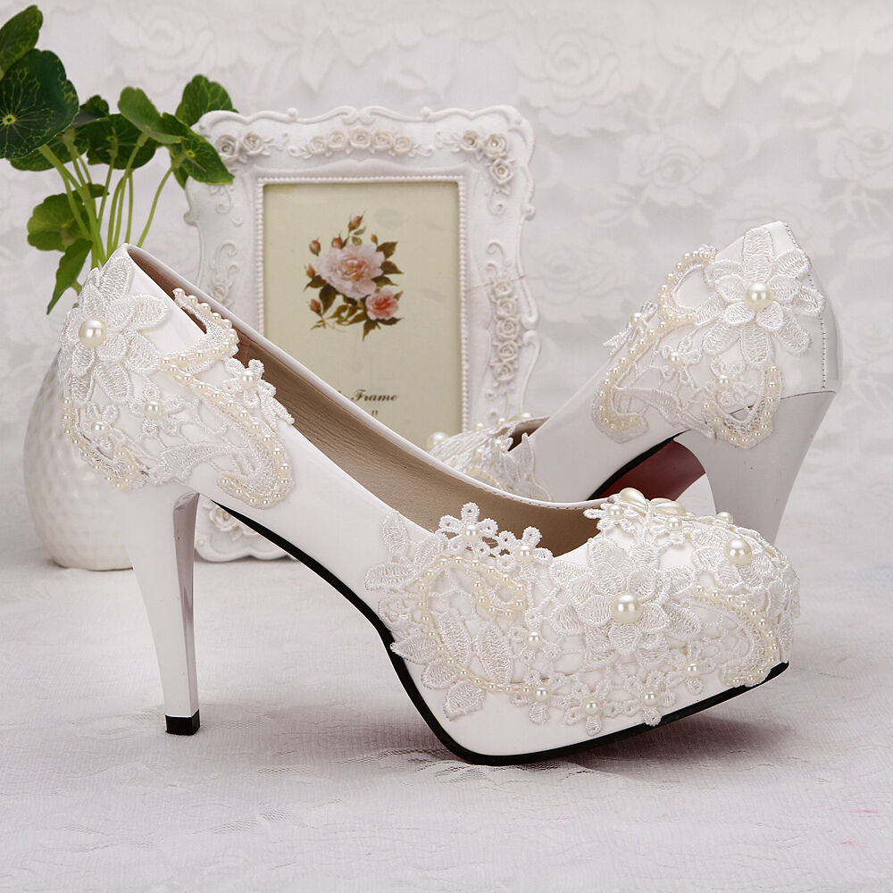 2017 New Heel White Ivory Lace Crystal Pearls Wedding