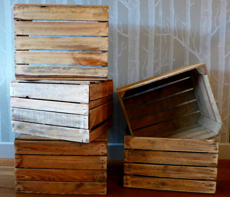 6 amazing solid vintage wooden apple crates fruit boxes for Wooden fruit crates