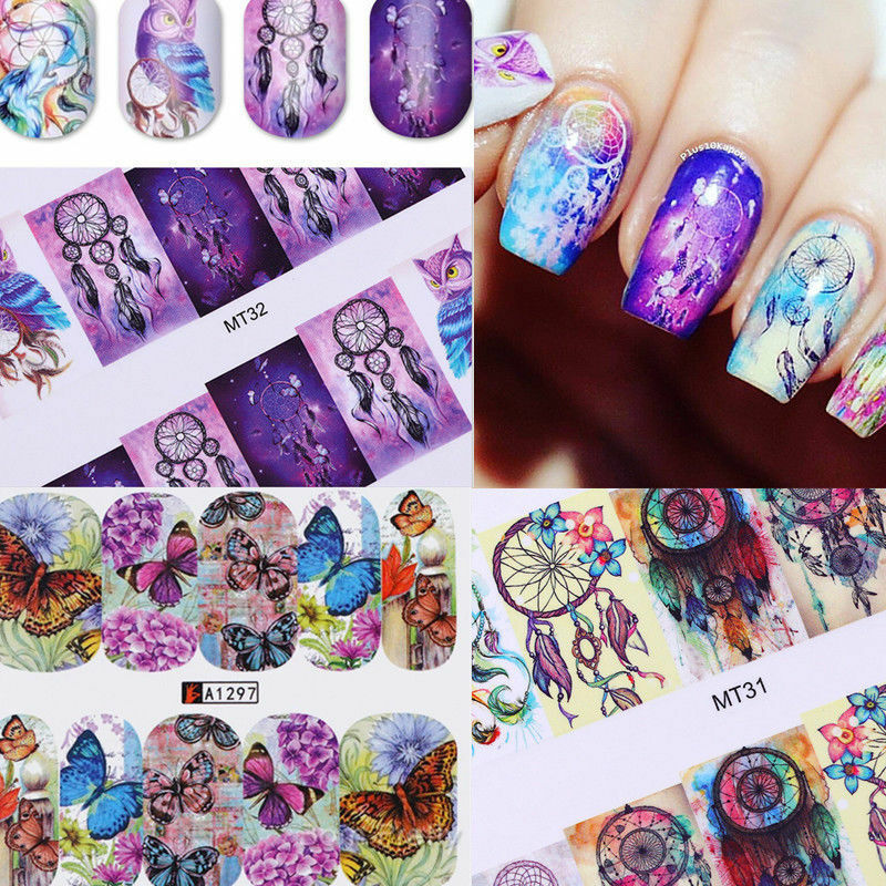 12Patterns Water Decals Nail Art Transfer Stickers Big