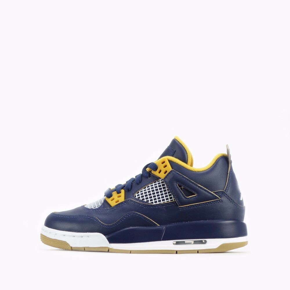 factory authentic 0fe9c bd345 Details about Nike Air Jordan 4 Retro BG Junior Youth Older Kids Shoes in  Mid Navy Gold