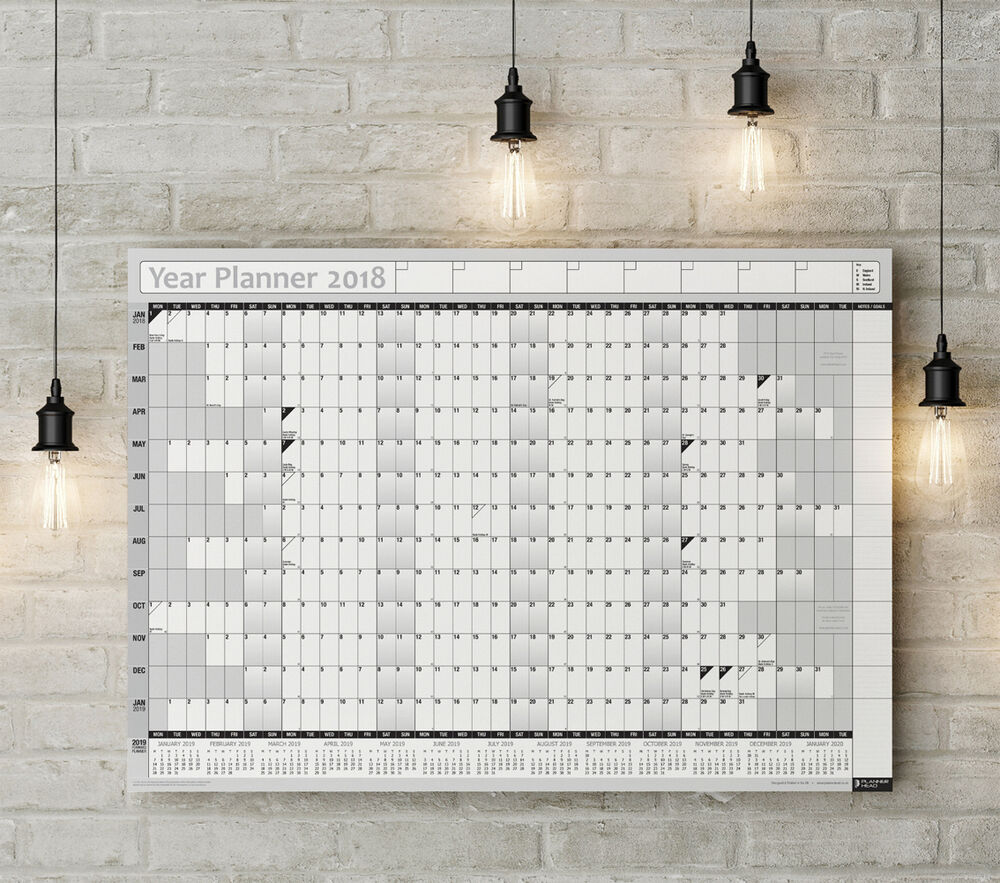 2018 year planner wall chart with 2019 calendar inc for Home planner inc