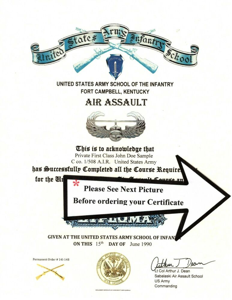 Army Air Assault Course School Deploma Replacement Certificate Ebay