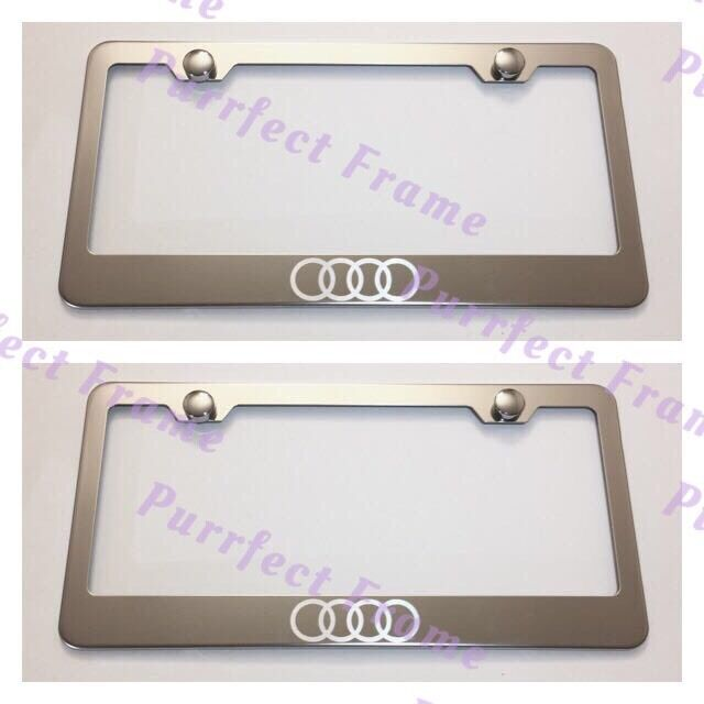 2X Jeep LASER Style Black Stainless Steel License Plate Frame Rust Free W// Caps