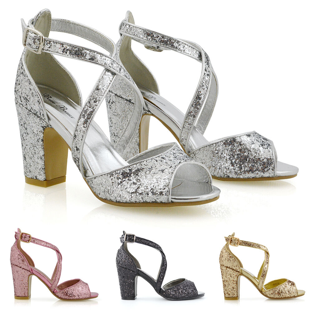 New Womens Strappy Sandals Block Low Heel Sparkly Ladies