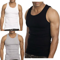 Kyпить 3 to 12 Packs Mens 100% Cotton Tank Top A-Shirt Wife Beater Undershirt Lot на еВаy.соm
