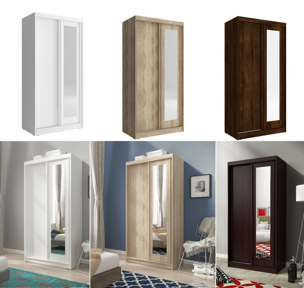 Details About Mini Sliding Doors Bedroom Small Mirrored Wardrobe White Light Oak Brown W 100cm