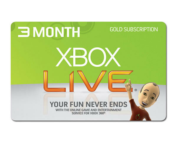 XBOX LIVE 3 MONTH GOLD MEMBERSHIP CODE XBOX 360 XBOX ONE