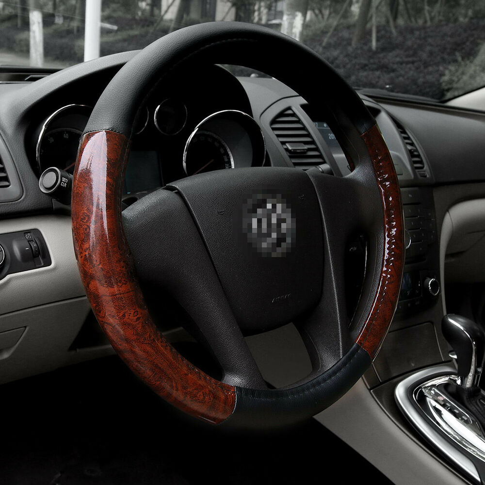leather pu car sedan steering wheel cover set 15 black wood grain universal fit ebay. Black Bedroom Furniture Sets. Home Design Ideas