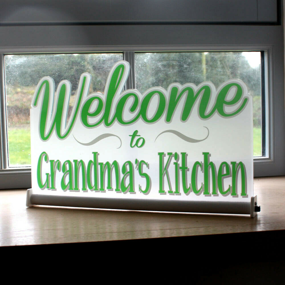 Light Up Kitchen Signs: Personalised Light Up Welcome Sign LED Illuminated Kitchen