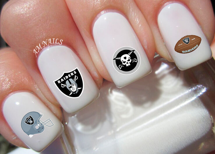 Oakland Raiders Nail Art Stickers Transfers Decals Set Of 38 Ebay