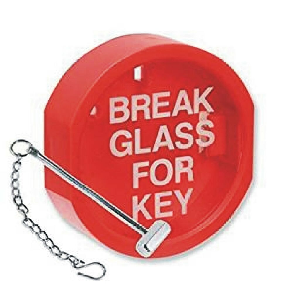 break glass key box hammer amp chain cover sign fire alarm
