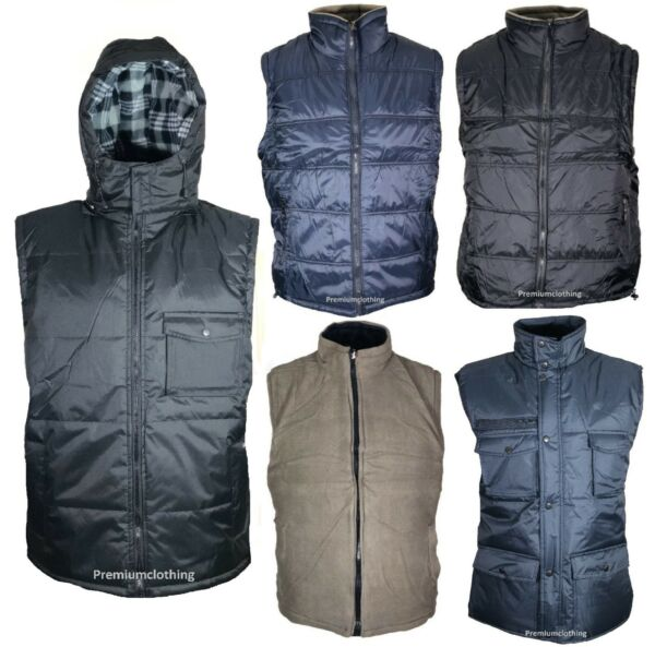 Mens Thermal Gilet BodyWarmer Reversible Padded Micro Fleece Fleece Insulated