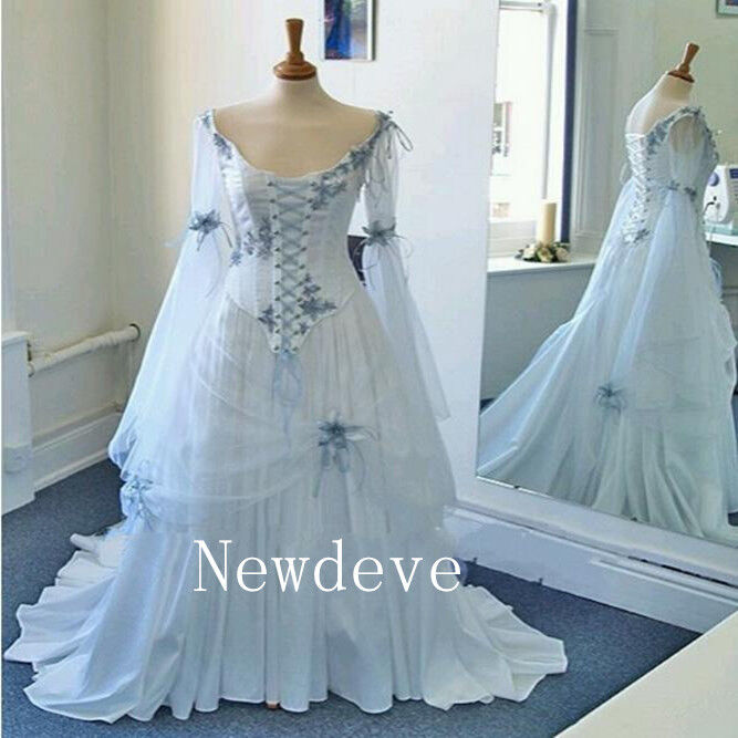 Great 2018 Medieval Wedding Gown Renaissance Bell Sleeve: Celtic Wedding Dresses Medieval Bridal Gowns Corset Bell