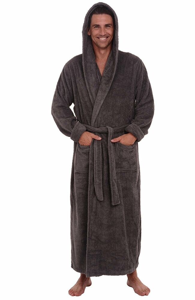 del rossa mens turkish terry cloth robe long cotton hooded bathrobe 1xl 2xl ebay. Black Bedroom Furniture Sets. Home Design Ideas