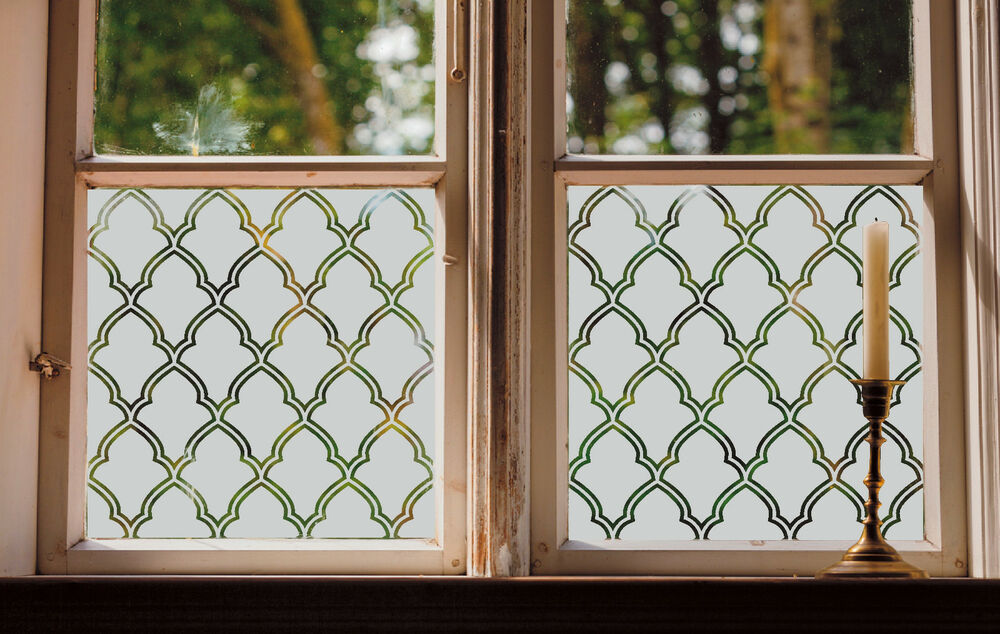 Etched Glass Window Film Frosted Effect Morrocan Trellis