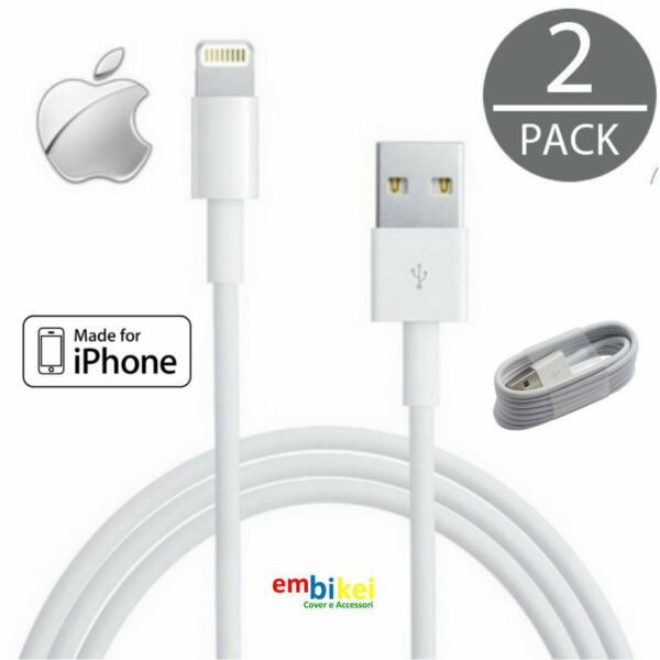2X Cavo Cavetto USB 8 PIN Carica Sincronizza per IPHONE 7 / 6 / 6S / 5 / 5S / SE